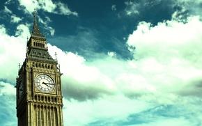 Картинка небо, облака, стрелки, Лондон, башня, Часы, Биг-Бен, часовая башня, Большой Бен, Big-Ben