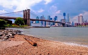 Картинка небо, пейзаж, мост, дома, США, Brooklyn, New York