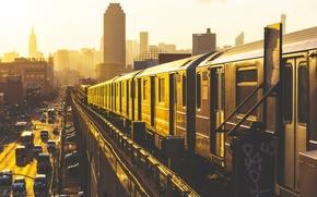 Картинка дорога, авто, солнце, машины, жизнь, страны, метро, города, дороги, рельсы, поезд, небоскребы, утро, вагоны, железная …