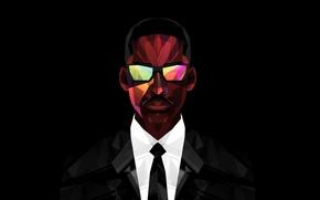 Картинка фильм, очки, костюм, актёр, Will Smith, чёрный фон, Men in black, агент J, Люди в …