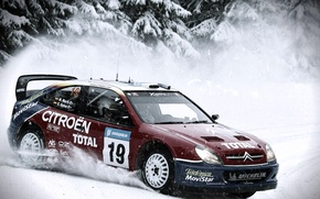 Картинка Зима, Авто, Снег, Спорт, Машина, Занос, Citroen, WRC, Rally, Ралли, Вид сбоку, В Движении, Xsara
