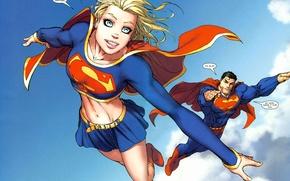 Картинка небо, полет, сила, superman, комикс, супер герои, supergirl, супермэн, dc comics, superheros