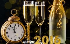 Обои 2016, happy, new year, golden, champagne, новый год