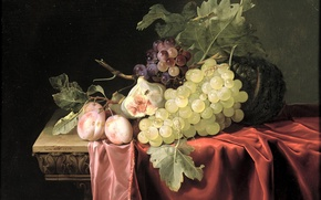 Картинка картина, виноград, фрукты, натюрморт, персики, Альст