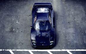 Картинка асфальт, стоянка, Ferrari, F40, феррари, синяя, ф40