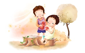 Картинка цветы, детство, дерево, ветер, листва, рисунок, позитив, мальчик, чаепитие, девочка, полянка
