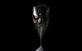 Картинка красный, глаз, фантастика, череп, терминатор, черный фон, Terminator: Genisys, Терминатор: Генезис, прах, сыпется
