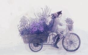 Картинка цветы, велосипед, аниме, тележка, парень
