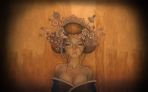 Картинка грудь, девушка, дерево, волосы, гейша, заколки