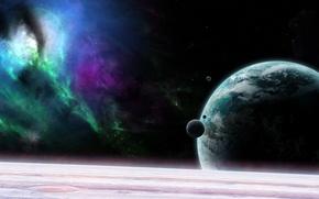 Картинка вселенная, планета, спутник, орбита