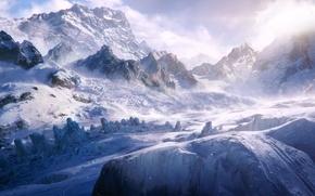 Картинка зима, снег, горы, люди, арт, колея, Reid Southen, альпинисты