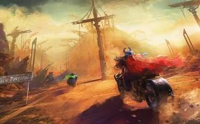 Картинка future, плащ, art, russia, motorbike, vikings, postapocalypse, new novgorod