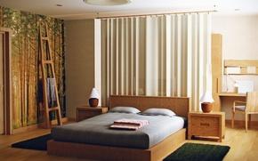 Картинка дизайн, стиль, интерьер, спальня, эко квартира