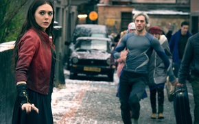 Картинка Мстители, Scarlet Witch, Aaron Taylor-Johnson, Elizabeth Olsen, Quicksilver, Pietro Maximoff, Wanda Maximoff, Avengers:Age Of Ultron