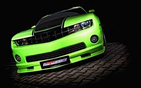 Обои зеленый, green, тюнинг, Chevrolet, Camaro, шевроле, tuning, камаро, Geiger