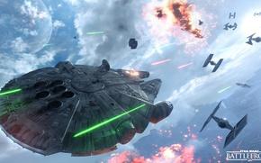 Картинка звездные войны, star wars, битва, сражение, повстанцы, Electronic Arts, dice, FPS, Millennium Falcon, тысячелетний сокол, …