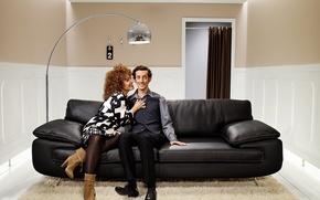 Обои диван, женщина, Комната, мужчина