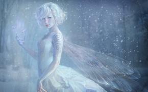 Картинка девушка, снег, бабочки, узор, крылья, фея, тату, когти, метель