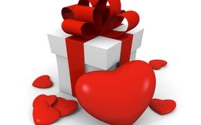 Обои фото, Сердце, День святого Валентина, Бантик, Праздники, Подарки, 3D Графика