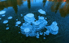 Обои лед, пузырьки, озеро, воздух, Норвегия, Selbusjoen