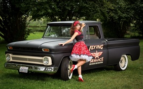 Обои chevrolet c10, pick-up, девушка