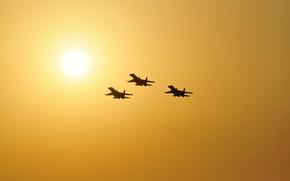 Обои звено, Flanker, самолет, солнце, небо, Су-27, истребитель
