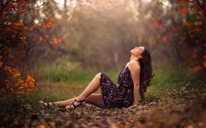 Обои Emma, ножки, осень, платье