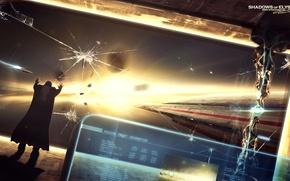 Картинка космос, сражение, экран