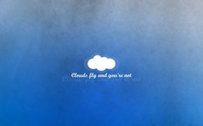 Картинка голубой, надпись, мысли, минимализм, облако