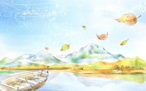 Обои рисунок, лодка, горы, листья