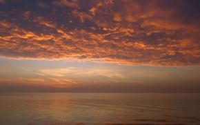 Картинка небо, облака, озеро, рассвет, горизонт, sky, clouds, lake, sunrise, Венгрия, Hungary, Balaton, Балатон