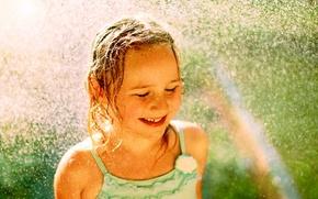 Обои девочка, радуга, вода, настроение, капли