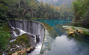 Картинка лес, деревья, озеро, парк, камни, водопад, Хорватия, Plitvice Lakes National Park