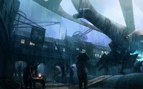 Картинка Rain, spaceship, космический корабль, factory, street