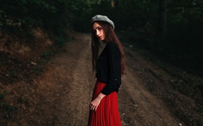 Картинка лес, взгляд, девушка, милая, модель, юбка, портрет, дорожка, light, шляпка, прелесть, кофта, nature, young, beautiful, …
