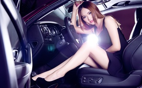 Картинка Bentley, Continental, Phantom, Girl, Purple, Hair, Salon, Seats, Hyun Lulu, Beatiful, Steering, Sits