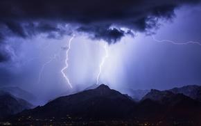 Обои гроза, небо, горы, ночь, тучи, город, молнии, освещение, Аризона, США, синее, Тусон