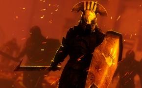 Картинка меч, воин, шлем, щит, lord of the rings, Uruk-hai, white hand, Hand of Saruman