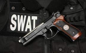 Картинка пистолет, жилет, SWAT, Beretta 92F S.T.A.R.S. Special