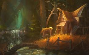 Картинка лес, деревья, дом, река, арт, речка, мостик