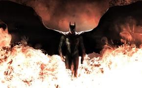 Картинка огонь, batman, крылья, арт, костюм, dark knight