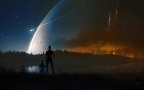 Картинка звезды, ночь, город, огни, озеро, люди, след, вид, планета, корабли, арт, Christopher Balaskas