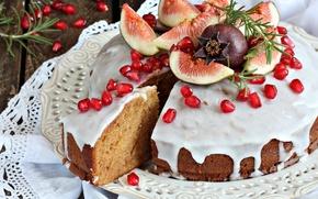 Картинка пирог, глазурь, гранат, инжир