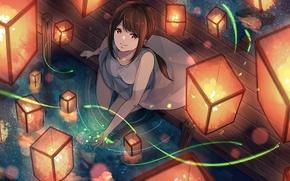 Картинка вода, улыбка, аниме, арт, фонарики, akira, mr akira