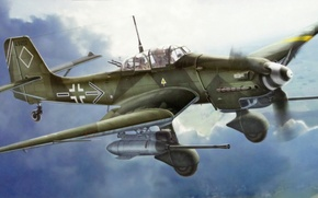 "Обои art, painting, aviation, Junkers Ju 87 G-2 Stuka ""Rudel"", German IIWW Dive-Bomber"