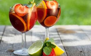 Картинка листья, капли, лимон, бокалы, клубника, ягода, лайм, напиток, фрукты, боке