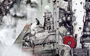 Картинка девушка, парень, киберпанк, art, Blame!, manga