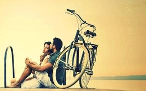 Картинка девушка, велосипед, фон, отдых, widescreen, обои, настроения, женщина, relax, пара, wallpaper, мужчина, парень, bicycle, парочка, …