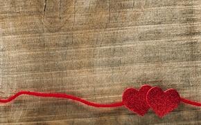 Картинка фон, дерево, сердца, сердечки, красные, нитка