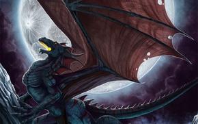 Картинка дракон, луна, фентези, полнолуние, горы